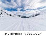 white snowy fields mountain... | Shutterstock . vector #793867327