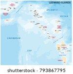 map of leeward islands ... | Shutterstock .eps vector #793867795