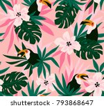 Stock vector floral background with tropical flowers leaves and toucans vector seamless pattern for stylish 793868647
