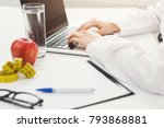 female nutritionist working on... | Shutterstock . vector #793868881