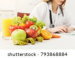 nutritionist desk with healthy... | Shutterstock . vector #793868884
