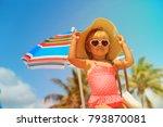 cute little girl with big bag... | Shutterstock . vector #793870081