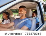 family in car going on road trip | Shutterstock . vector #793870369