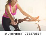 young woman in fitness club....   Shutterstock . vector #793870897