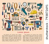 house repair tools including ... | Shutterstock .eps vector #793872691