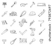 icons of house repair tools... | Shutterstock .eps vector #793872697