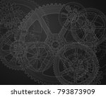 drawing gears on a black... | Shutterstock .eps vector #793873909