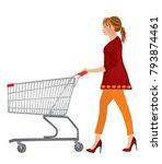 woman pushing a shopping cart ... | Shutterstock .eps vector #793874461