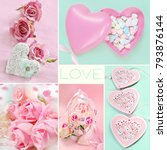 pastel colors love collage with ... | Shutterstock . vector #793876144