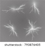 a set of lightning magic and... | Shutterstock .eps vector #793876405