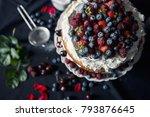 beautiful  fruit  cake on a... | Shutterstock . vector #793876645