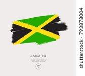 flag of jamaica in grunge brush ... | Shutterstock .eps vector #793878004