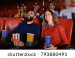 young people watching movie in... | Shutterstock . vector #793880491