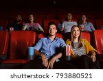 young people watching movie in... | Shutterstock . vector #793880521