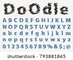 hand drawn alphabet with pen ... | Shutterstock .eps vector #793881865
