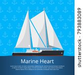 marine heart poster with luxury ... | Shutterstock .eps vector #793883089