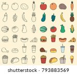 organic food and fast food... | Shutterstock .eps vector #793883569