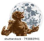 werewolf scary wolf man horror... | Shutterstock .eps vector #793883941