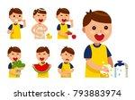 set of heathy kid flat vector... | Shutterstock .eps vector #793883974