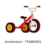 red kid tricycle bike flat... | Shutterstock .eps vector #793884001