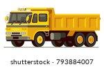yellow dump truck in modern... | Shutterstock .eps vector #793884007