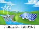 renewable energy or power... | Shutterstock .eps vector #793884079