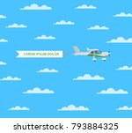screw aircraft with banner in... | Shutterstock .eps vector #793884325