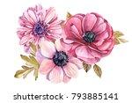 bouquet of flowers in vintage... | Shutterstock . vector #793885141