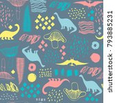 seamless pattern with cartoon... | Shutterstock .eps vector #793885231