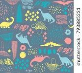 seamless pattern with cartoon... | Shutterstock .eps vector #793885231