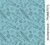 seamless summer pattern with... | Shutterstock .eps vector #793887571