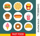 fast food and drink flat icons | Shutterstock .eps vector #793888441