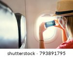 travel and technology. young... | Shutterstock . vector #793891795