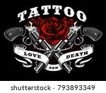 guns and roses tattoo design.... | Shutterstock .eps vector #793893349
