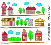 houses on a street.... | Shutterstock . vector #793897324