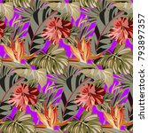seamless purple pattern with... | Shutterstock .eps vector #793897357