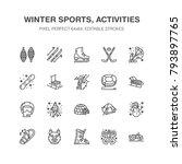 winter sports vector flat line...   Shutterstock .eps vector #793897765