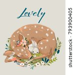 cute summer deer with hare | Shutterstock .eps vector #793900405