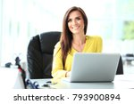 attractive businesswoman... | Shutterstock . vector #793900894