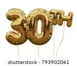 gold number 30 foil birthday... | Shutterstock . vector #793902061