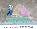 little kid boy as pirate on... | Shutterstock . vector #793902364