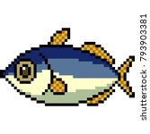 vector pixel art fish isolated | Shutterstock .eps vector #793903381