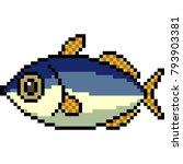 vector pixel art fish isolated | Shutterstock .eps vector #793903381