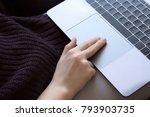 female fingers tap double click ... | Shutterstock . vector #793903735