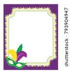 mardi gras beads colored frame... | Shutterstock .eps vector #793904947