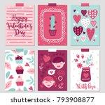 set of six valentine's day... | Shutterstock .eps vector #793908877
