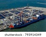 aerial view of cranes  docks... | Shutterstock . vector #793914349