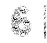 number 6 skeleton. bones font... | Shutterstock . vector #793917841