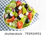 fresh greek salad made of... | Shutterstock . vector #793924951