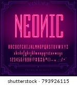 bright neon alphabet letters ... | Shutterstock .eps vector #793926115